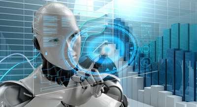 Als humanoider Roboter dargestellte KI.